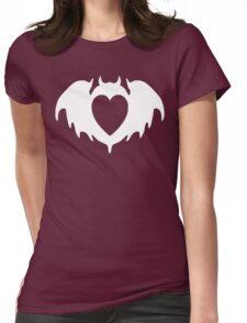 Clandestine Bat Heart - White Womens Fitted T-Shirt
