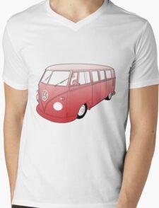 Red VW Camper Mens V-Neck T-Shirt