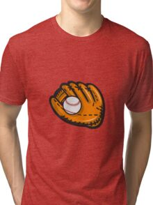 Baseball Glove Ball Retro Tri-blend T-Shirt