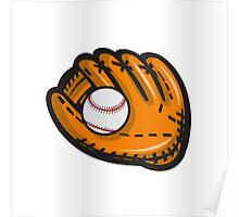 Baseball Glove Ball Retro Poster