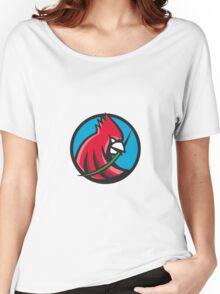 Cardinal Head Blade Grass Circle Retro Women's Relaxed Fit T-Shirt