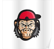 Angry Chimpanzee Head Baseball Cap Retro Poster