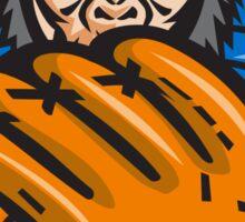 Chimpanzee Baseball Catcher Glove Retro Sticker