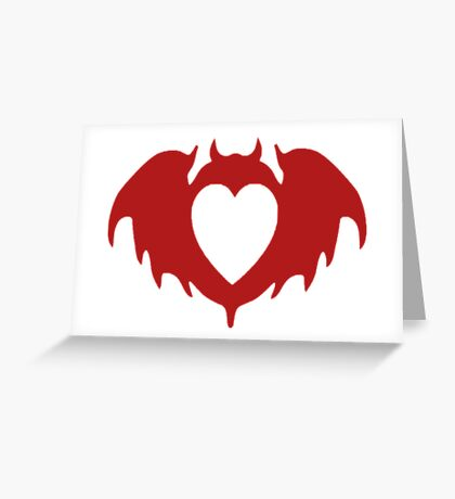 Clandestine Bat Heart - Red Greeting Card