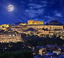 Full moon over the Acropolis by Hercules Milas