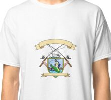 Fishing Rod Reel Blue Marlin Fish Beer Bottle Coat of Arms Drawing Classic T-Shirt