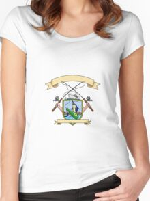Fishing Rod Reel Blue Marlin Fish Beer Bottle Coat of Arms Drawing Women's Fitted Scoop T-Shirt
