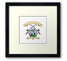 Fishing Rod Reel Blue Marlin Fish Beer Bottle Coat of Arms Drawing Framed Print