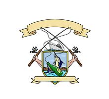 Fishing Rod Reel Blue Marlin Fish Beer Bottle Coat of Arms Drawing Photographic Print