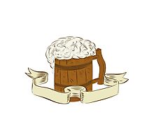 Medieval Beer Mug Foam Drawing Photographic Print
