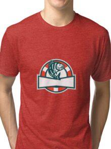 Sheepshead Fish Jumping Lifesaver Circle Retro Tri-blend T-Shirt