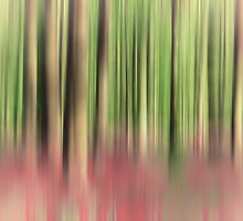 green and red abstract forest by kittenmomo