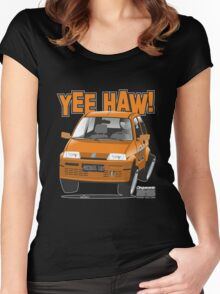 Fiat Cinquecento General Lee caricature Women's Fitted Scoop T-Shirt