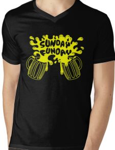 SUNDAY FUNDAY Drinking Beer College Booze Party Frat Mens V-Neck T-Shirt