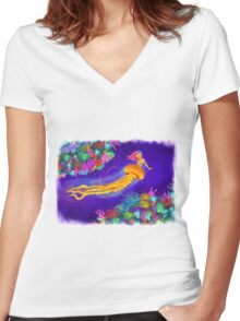 Jellyfish Mermaid! Women's Fitted V-Neck T-Shirt