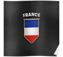 France Pennant with high quality leather look Poster