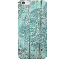 Teal & Aqua Botanical Doodle on Weathered Wood iPhone Case/Skin