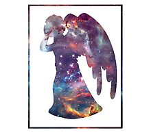 weeping angel silhouette dr who stencil galaxy Photographic Print