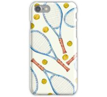 pattern with tennis rackets with tennis balls iPhone Case/Skin