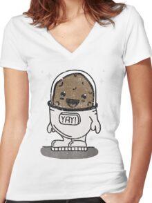 SPACE POTATO ERMAHGERD!! Women's Fitted V-Neck T-Shirt