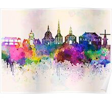 Leiden skyline in watercolor background Poster