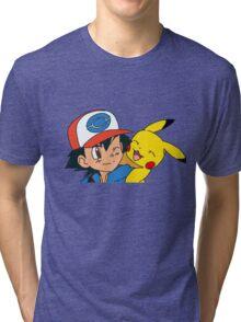 Ash and Pikachu Tri-blend T-Shirt