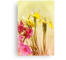 Yellow And White Iris And Pink Azalea Canvas Print