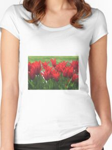 Red flowers Women's Fitted Scoop T-Shirt