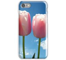 two pink tulip flowers in blue sky iPhone Case/Skin