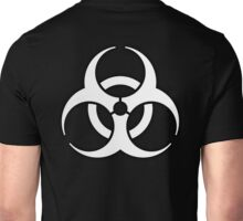 Bio Hazard, Biohazard, Danger, HAZARD, Symbol, Biological, Hazard, WARNING, WHITE on BLACK Unisex T-Shirt