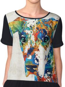 Colorful Great Dane Art Dog By Sharon Cummings Chiffon Top