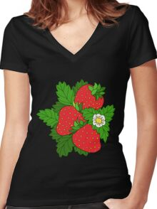 Ripe juicy strawberries Women's Fitted V-Neck T-Shirt