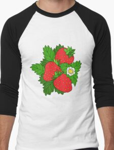 Ripe juicy strawberries Men's Baseball ¾ T-Shirt