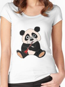 Cool Funny Funky Panda Bear Playing the Clarinet Women's Fitted Scoop T-Shirt