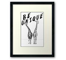 Be Unique, Giraffes Framed Print