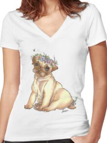 Pug is love Women's Fitted V-Neck T-Shirt