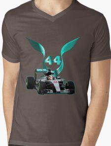 Lewis Hamilton F1 with LH 2016 44 car Mens V-Neck T-Shirt