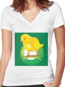 cute chicken Women's Fitted V-Neck T-Shirt