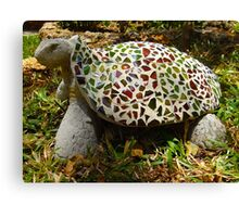 Mosaic and beer bottle glass turtle Canvas Print