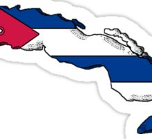 Cuba Map With Cuban Flag Sticker