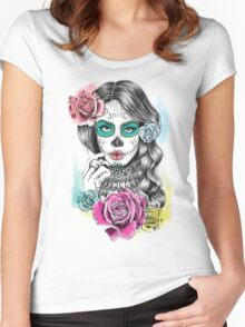 Aaliyah, Day of the Dead Women's Fitted Scoop T-Shirt