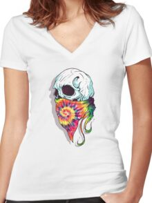 Skull Hipster Women's Fitted V-Neck T-Shirt