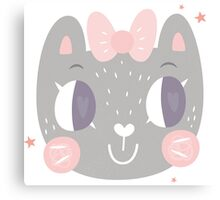 Girls Kitty Face Design Canvas Print