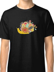 Cute Snail with Flowers & Swirls in Bright Colours Classic T-Shirt