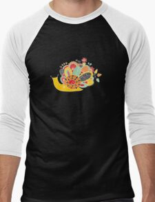 Cute Snail with Flowers & Swirls in Bright Colours Men's Baseball ¾ T-Shirt