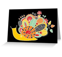 Cute Snail with Flowers & Swirls in Bright Colours Greeting Card