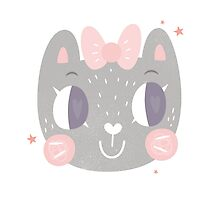 Girls Kitty Face Design by Claire Stamper