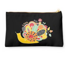Cute Snail with Flowers & Swirls in Bright Colours Studio Pouch