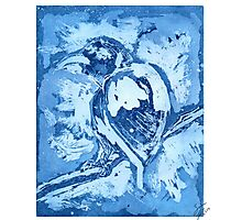 Bird on a Wire (Blue) Photographic Print