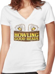 Howling good reads distressed version  Women's Fitted V-Neck T-Shirt
